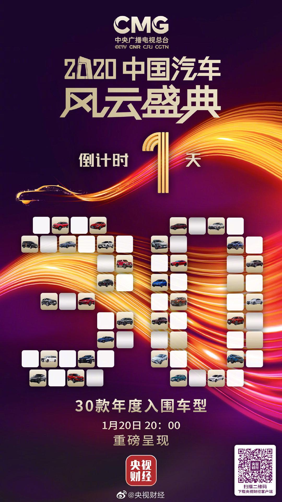 2020中国汽车风云盛典颁奖典礼倒计时1天!