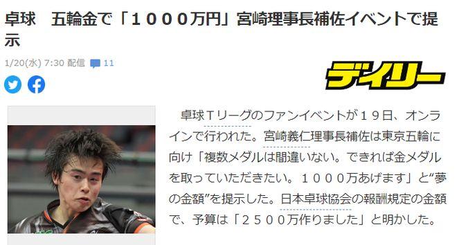 夺金奖励1000万日元!日本乒协:奥运必收获多枚奖牌