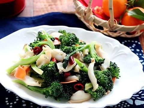 鲜鲍片菌菇西兰花、小海鲜炒西兰花、西兰花炒贝肉