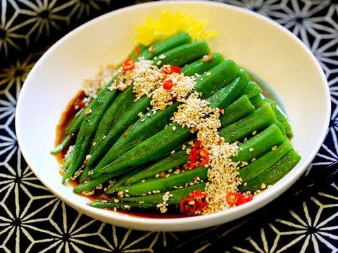 凉拌秋葵这样吃,营养又健康,2分钟就上桌,女性多吃对皮肤好