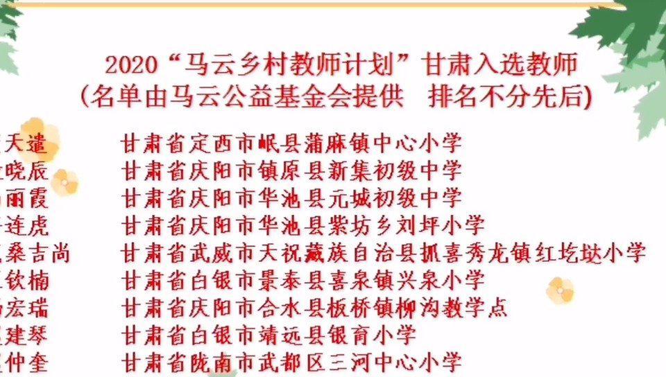 2020马云乡村教师计划名单公布 甘肃省9名教师入选