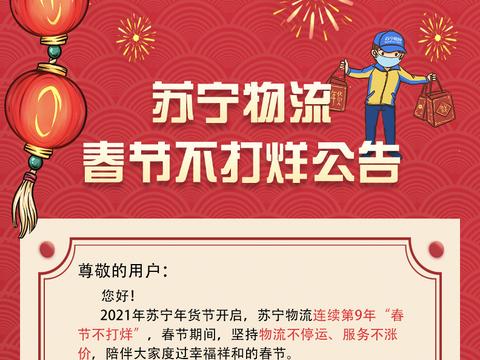 """苏宁物流发布""""春节不打烊""""公告,保障消费者""""就地过年"""""""