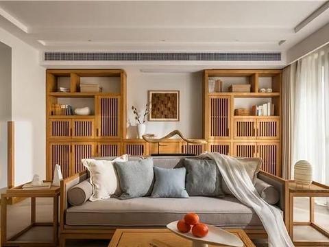 打造极致简约的新中式,设计师采用对称设计打造中式客厅