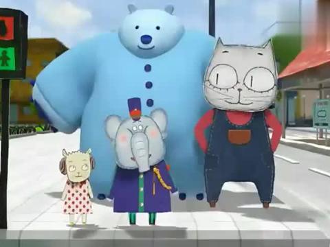 云彩面包:大象警官带小女孩过马路,真是太好了!
