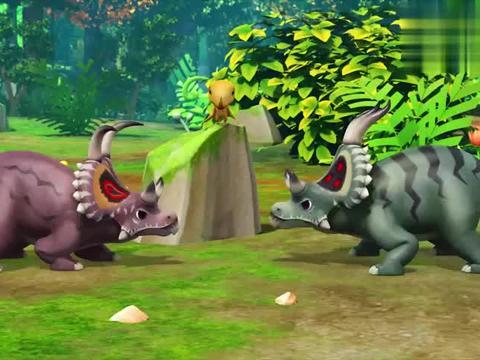帮帮龙出动:恐龙开始比赛,它们的犄角卡住了,怎么也分不开