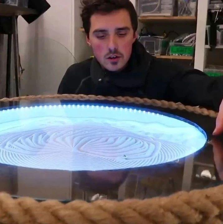 老旧3D打印机改造成金属球沙画桌,成品有点好看啊
