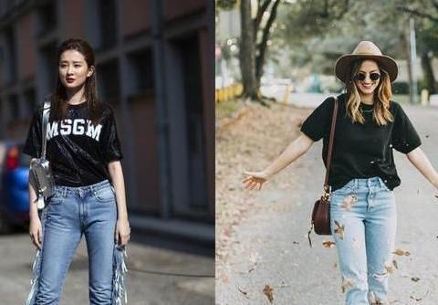 """炎炎夏日,穿""""黑色t恤+牛仔裤""""的你会非常潮,还特别显瘦"""