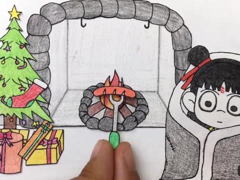 手绘定格动画:边烤火边烤肠,哪吒还要吃烤鸭,好有趣