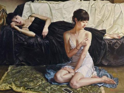 新锐艺术家孔慧人体油画中的女郎,性感逼真