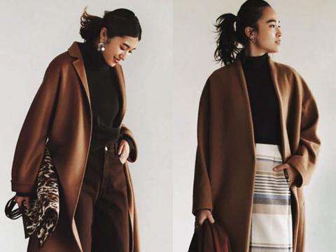 冬季要穿出精致高雅,大地色的外套不能忽视,1件潇洒整个冬天
