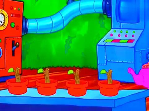 海绵宝宝:珊迪研制神奇药水,终于种出了橡实树,实在是大丰收!