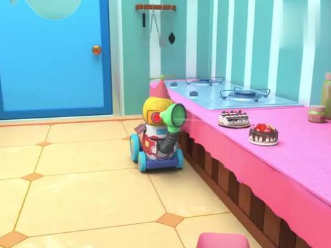 百变校巴:机器人失控,扔了歌德一脸蛋糕,歌德什么都看不见了