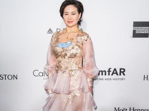 何超琼气质可真好,穿着半透网纱粉色蛋糕连衣裙,微胖身材显不出