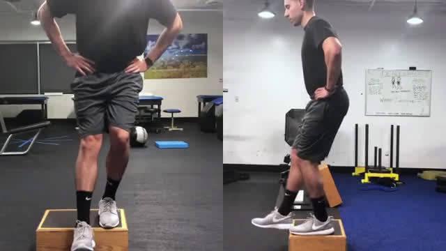 下肢力量训练 可以站在台阶上或者是落差较大的地方,双手叉腰……