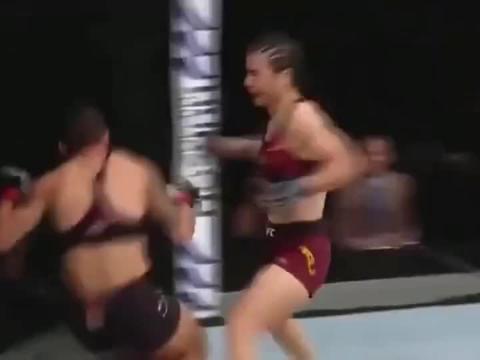 亚洲首条UFC金腰带,慢放带你看张伟丽42秒极速KO瞬间