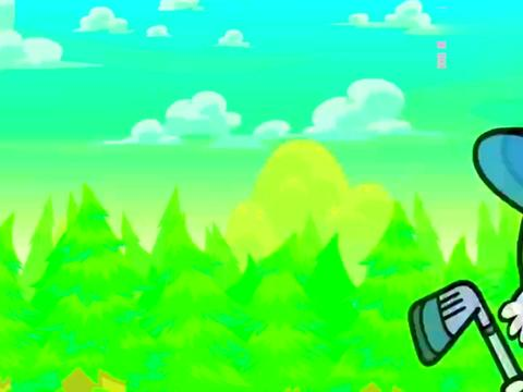 萌萌兔打高尔夫,马上就进洞了,球洞这是被谁挖走了真缺德呀!