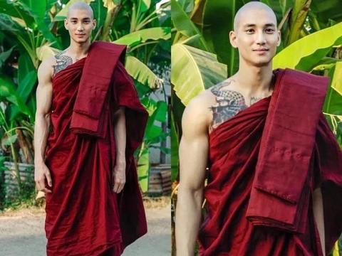 188cm缅甸男模,凭一组和尚照爆红网络,袈裟配肌肉与众不同