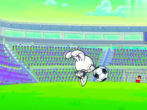 萌萌兔驰骋足球场,来势凶猛,小胖子守门员能防御强敌吗!
