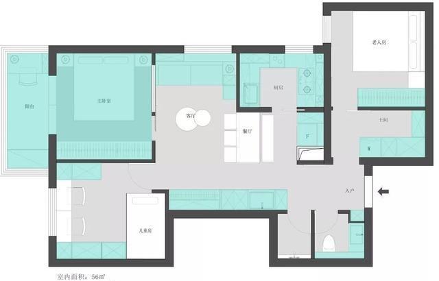 套内56㎡房改造成3室2厅,还有干湿分离卫生间和衣帽间,太厉害了
