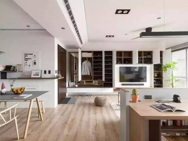 125平现代三居室,衣帽间就隐藏在电视墙中,这设计也太厉害了