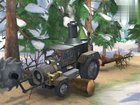 熊出没:光头强的战车真厉害,面对狗熊的陷阱,根本没当回事
