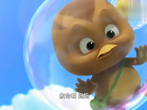 萌鸡小学堂:萌鸡仔被泡泡弄上天,鸡妈妈不顾生命危险就下孩子!