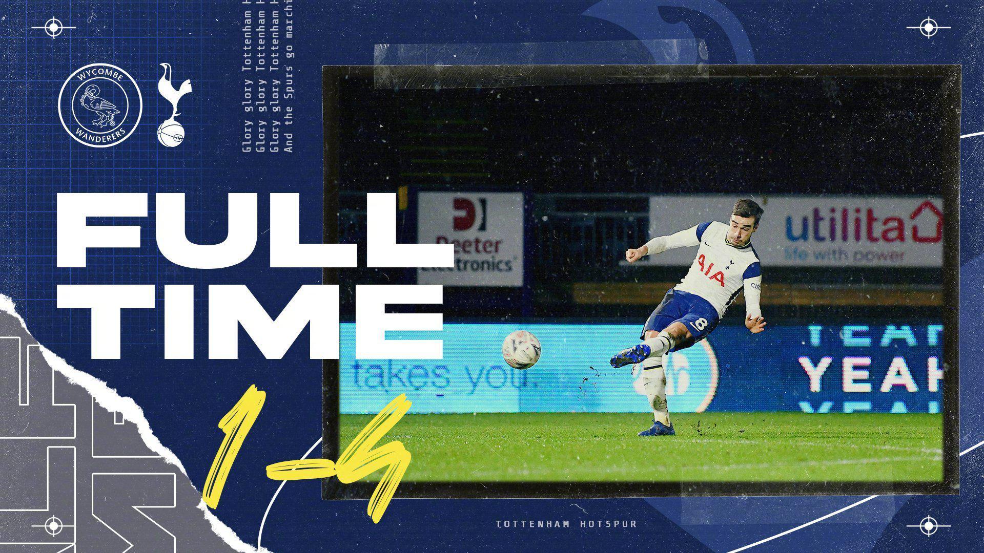 英格兰足总杯第4轮比赛中,热刺客场4-1击败韦康比流浪者……