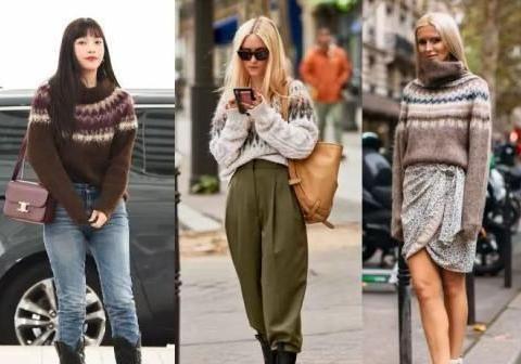 杨幂穿衣被模仿越来越疯狂,穿个提花毛衣,如今满大街都是同款