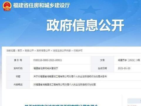 福建省鸿嘉建设工程有限公司违规办理个人执业注册被信用扣分