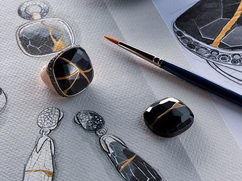 Pomellato宝曼兰朵黑色煤精、白色火山岩、金色裂纹增添残缺之美