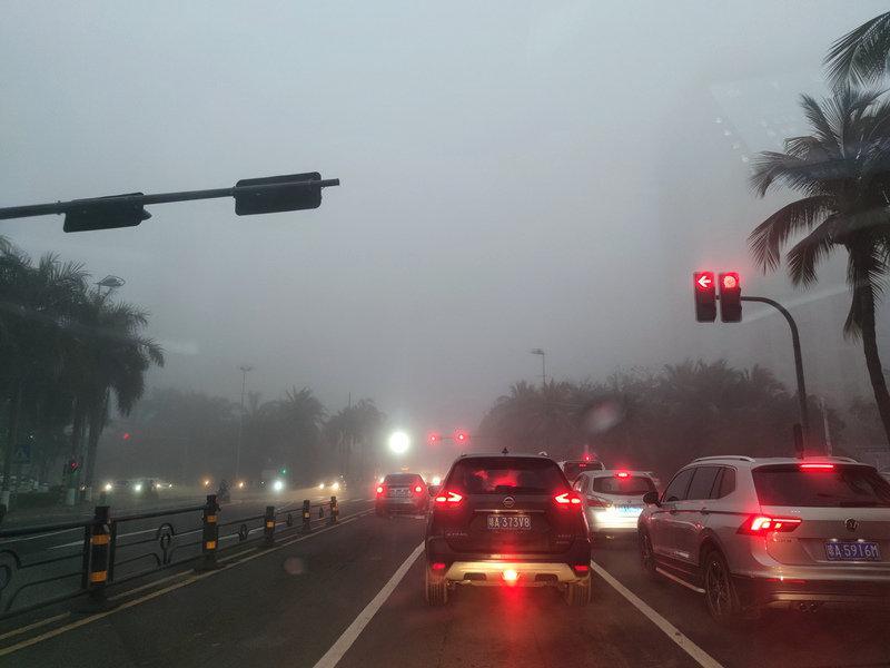 海口发布大雾橙色预警 能见度已小于500米 大家行车注意安全!