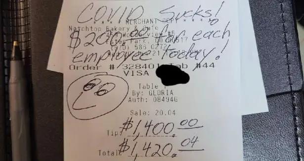 美国一面包店收到顾客1800美元小费