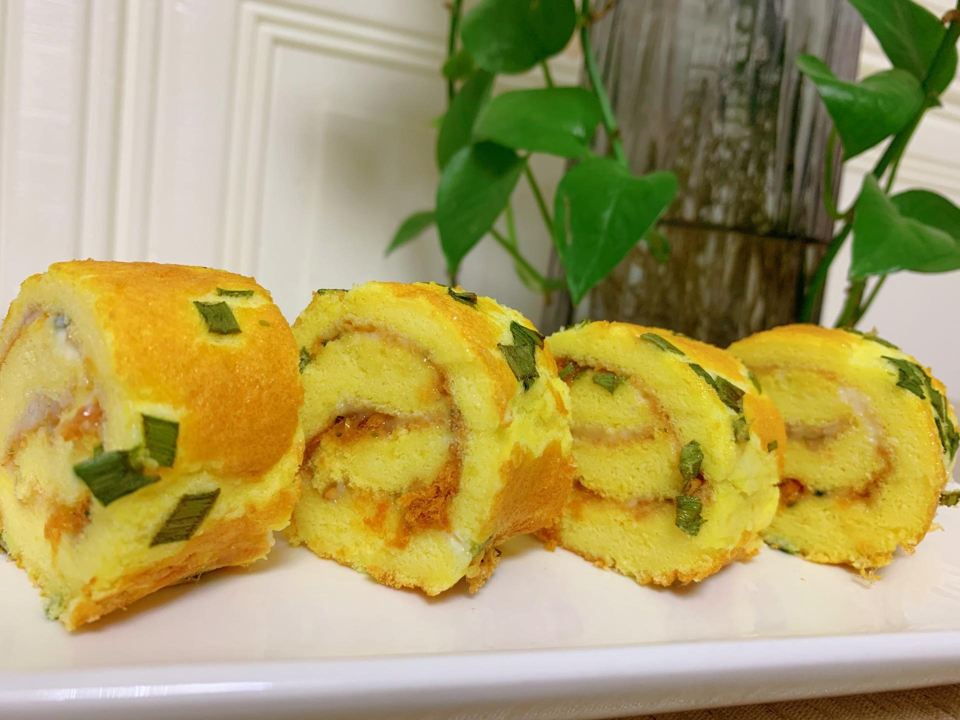 【葱花肉松蛋糕卷】的做法+配方,小孩很爱吃,美味好吃