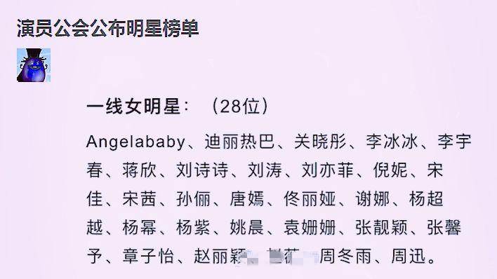 """一线女明星榜单,baby迪丽热巴上线,还有位""""招黑""""体质的艺人图1"""