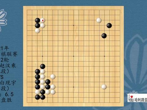 2021年韩国围棋联赛第12轮,赵汉乘VS白现宇,白中盘胜