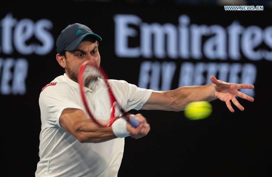 Russia's Aslan Karatsev competes during the men's singles semifinal between Serbia's Novak Djokovic and Russia's Aslan Karatsev at Australian Open in Melbourne Park in Melbourne, Australia, Feb. 18, 2021. (Photo by Hu Jingchen/Xinhua)