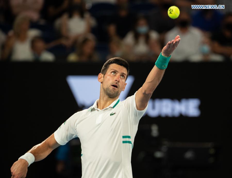 Serbia's Novak Djokovic serves during the men's singles semifinal between Serbia's Novak Djokovic and Russia's Aslan Karatsev at Australian Open in Melbourne Park in Melbourne, Australia, Feb. 18, 2021. (Photo by Hu Jingchen/Xinhua)