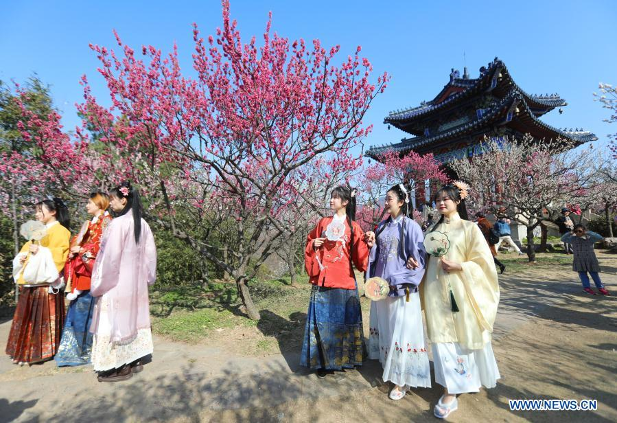 Tourists in traditional costumes visit the Meihuashan (Plum Blossom Hill) scenic area in Nanjing, east China's Jiangsu Province, Feb. 19, 2021. A festival featured with plum blossom kicked off here on Friday. (Photo by Ding Liang/Xinhua)