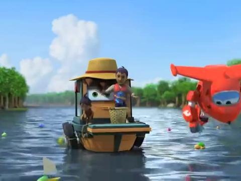 超级飞侠:超级飞侠出动,帮助乐迪打捞出红树林里的玩具!