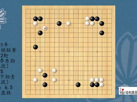 2021年韩国围棋联赛第12轮,李东勋VS卞相壹,白中盘胜
