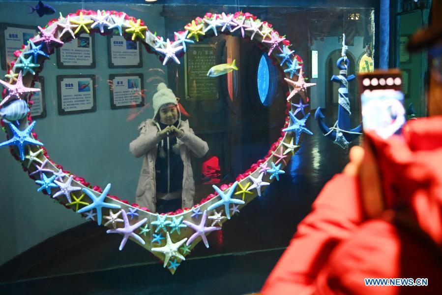 Visitors take photos at Harbin Polarland in Harbin, capital of northeast China's Heilongjiang Province, Feb. 21, 2021. The Harbin Polarland resumed its operation with sufficient COVID-19 prevention and control measures on Sunday. (Xinhua/Wang Jianwei)