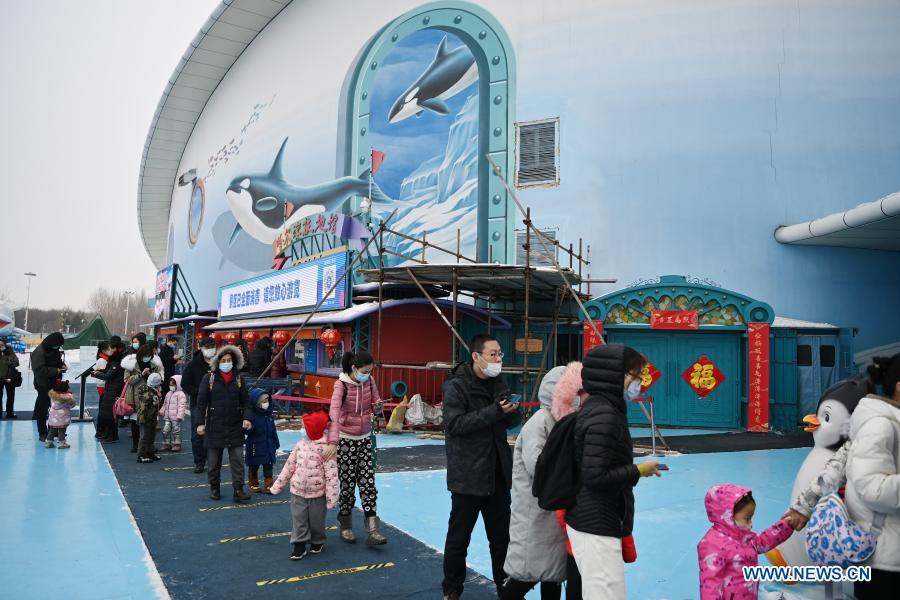 Visitors wait in line to enter Harbin Polarland in Harbin, capital of northeast China's Heilongjiang Province, Feb. 21, 2021. The Harbin Polarland resumed its operation with sufficient COVID-19 prevention and control measures on Sunday. (Xinhua/Wang Jianwei)