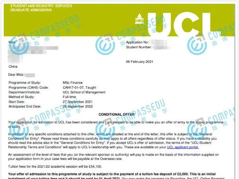 GPA90.31,雅思8.0,指南者留学财经211学霸收获UCL 金融录取!