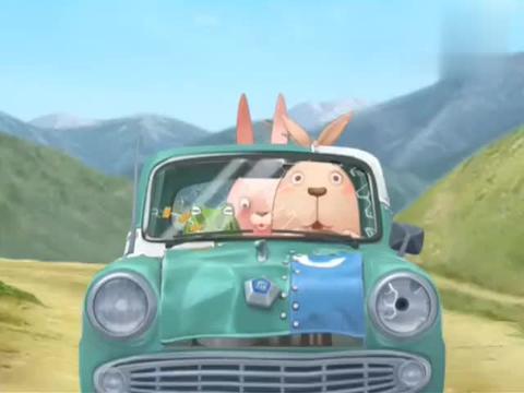 越狱兔:绿兔子开车,红兔子坐在后排擦鞋,鞋里钻出来一只小鸡