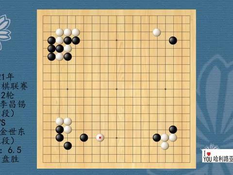 2021年韩国围棋联赛第12轮,李昌锡VS金世东,白中盘胜