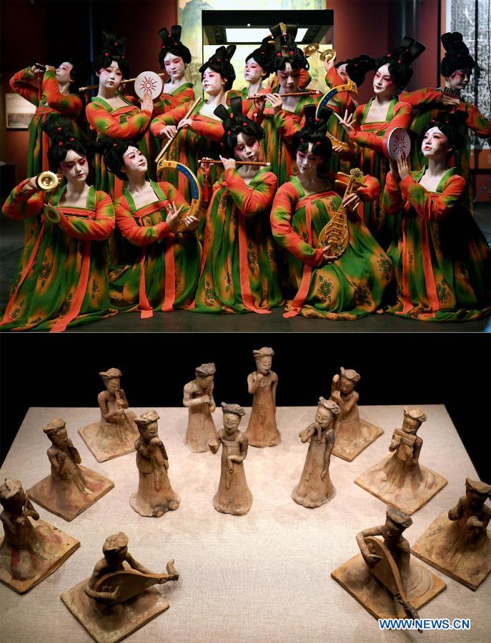 Combo photo shows dancers posing for photo during the recording of a program at Henan Museum in Zhengzhou, central China's Henan Province, Feb. 20, 2021 (top) and exhibits displayed at Henan Museum in Zhengzhou, central China's Henan Province, Sept. 24, 2020. Fourteen dancers from Zhengzhou Song and Dance Theater have been very busy since the dancing they performed went viral online. The performance, named Banquet of Tang Palace, was staged at the Spring Festival gala of Henan Province. Brilliantly choreographed and acted, the dancing has almost brought ancient dancing figurines of the Tang Dynasty (618-907) alive. The performance Banquet of Tang Palace, inspired by the dancing figurines displayed at a museum, tells a story about the life of female musicians during the Tang Dynasty.