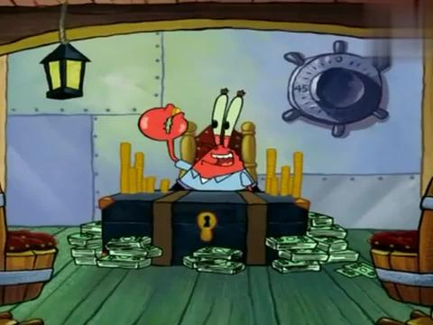 海绵宝宝:蟹老板又在数钱,他的钳子被夹了,海绵宝宝出场了