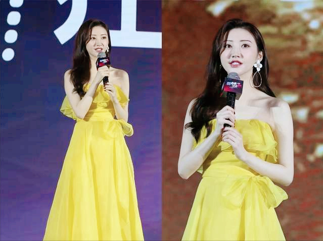 景甜黄色连衣裙,白的发光,粉丝:张继科后悔了?