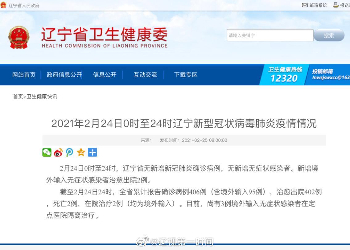 2021年2月24日0时至24时  辽宁省无新增新冠肺炎确诊病例