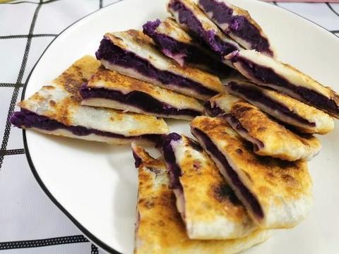 奶香芝士紫薯饼,层次分明的美味家常,外酥里嫩的香甜早餐甜点